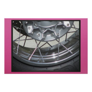 Poster - Motorcycle Tire - Pink Background