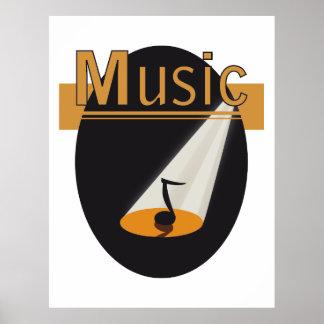 Poster - music note in spotlight design Music
