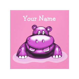 Poster My Hippo Purple Stretched Canvas Print