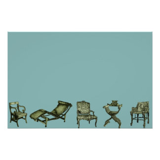 Poster of chairs in turquoise