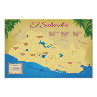 Poster of El Salvador, Departments