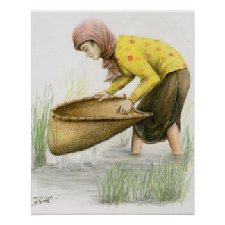 Poster of Woman Sifting Rice by Vannak Anan Prum