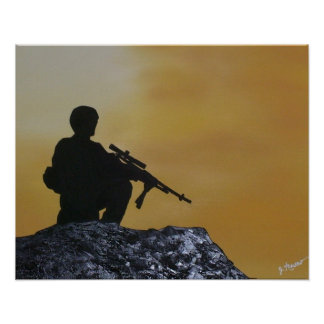 """Poster """"On Guard"""" Soldier Painting"""