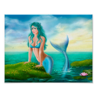 Poster Paper  Fantasy beautiful mermaid in sea