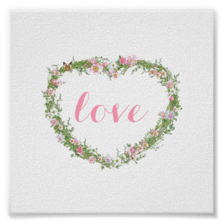 Poster/Picture - Floral Heart Love Poster