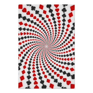 Poster: Poker Card Suits Spiral: Black Jack Poster