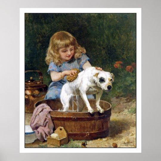 Poster Print: Giving The Dog A Bath - Vintage Art