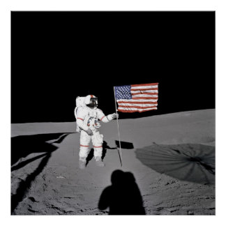 Poster/Print:  Moonwalk & American Flag Poster