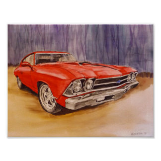 poster print red 69 Chevelle