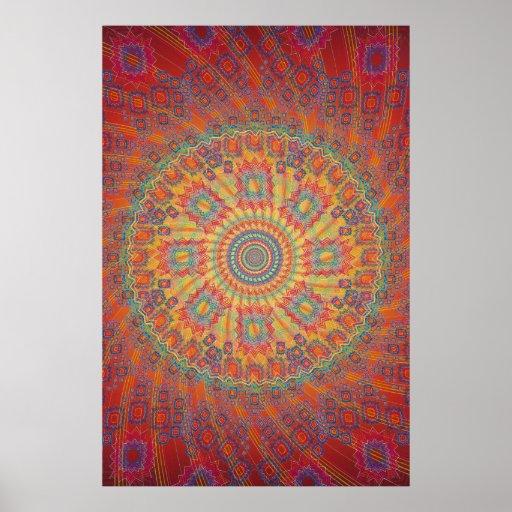Poster: Psychedelic Spiral Fractal Artwork