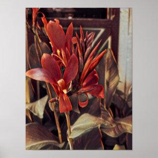 Poster: Red Folk Art Flowers Poster
