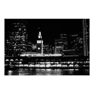Poster: San Francisco at night clock tower Poster