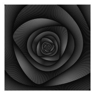 Poster  Spiral Labyrinth in Monochrome