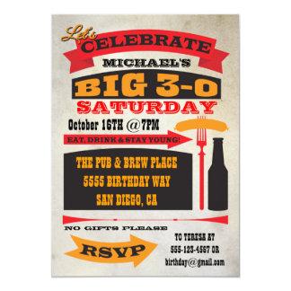 "Poster style BIG 30 birthday party invitations 5"" X 7"" Invitation Card"