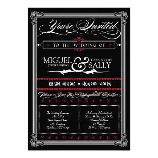 Poster Style Red & Black DIY Wedding Invitation