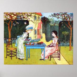 Poster: Two Victorian Girls Having Tea Poster