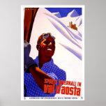 Poster-Val d' aosta Vintage Advertisment Skiing
