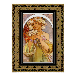 Poster Vintage Art Alphonse Mucha With Frame