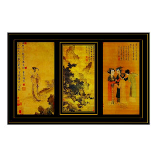 Poster Vintage Art Japanese Tang Yin Panels Posters