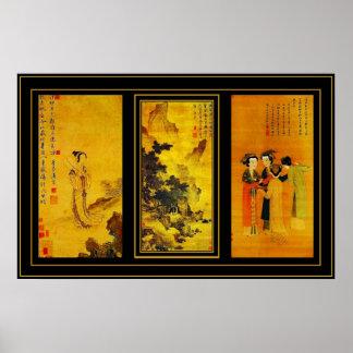 Poster Vintage Art Japanese Tang Yin Panels