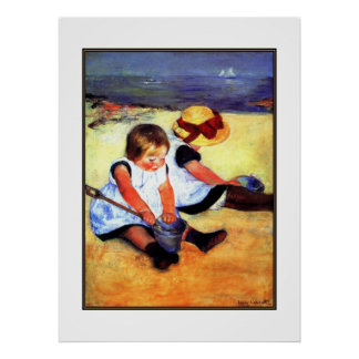 Poster Vintage Art Two Children At The Beach