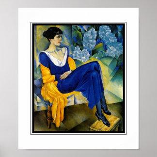 Poster Vintage Art Woman Blue Akhmatova_1914