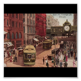 Poster-Vintage Chicago Art-State and Randolph 1940 Poster