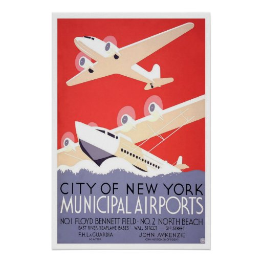 Poster-Vintage New York City Airport Poster