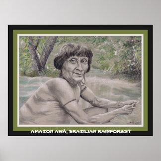 Poster w orig. art of elder from Amazon Rainforest