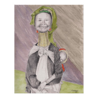 Poster w/ original art of Burmese woman & child