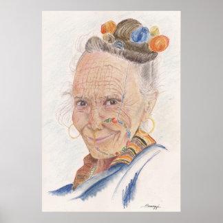 Poster w/ Original Art of Elderly Himalayan Woman