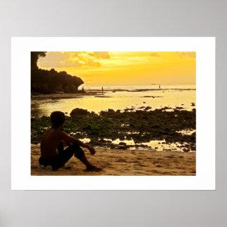 Poster white 24 x18 Padang Beach Bali