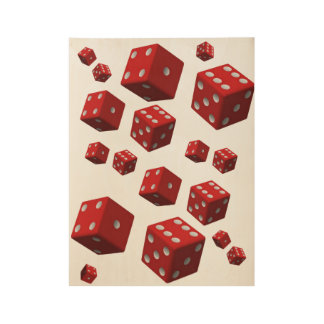 Poster white back red dice for his bedroom