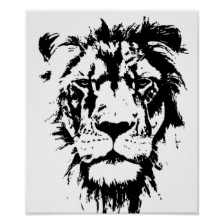 Poster with a black and white print Leo