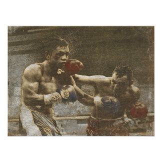 Poster with Boxing Scene from the Ringside