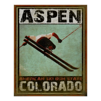 Poster with Cool Aspen Ski Print
