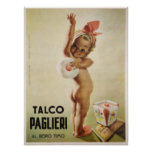 Poster with Cute Baby on Vintage Ad Poster