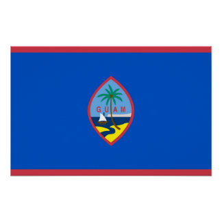 Poster with Flag of Guam, U.S.A.