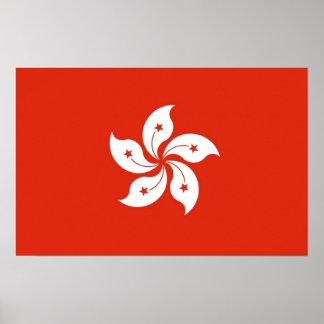 Poster with Flag of Hong Kong, China