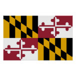 Poster with Flag of Maryland, U.S.A.