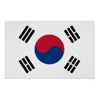 Poster with Flag of South Korea