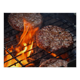 Poster with meat barbecue burgers and fire flame