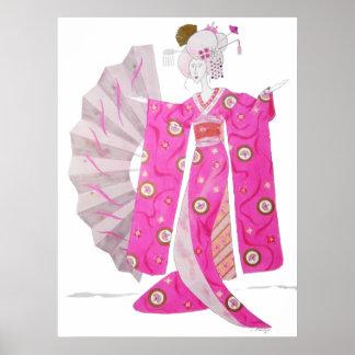 Poster with original art of All-pink Geisha Girl