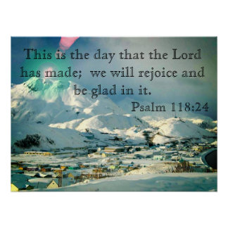 Poster with Snowy village and Bible Verse