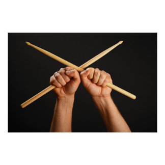 Poster with two hands with crossed drumsticks