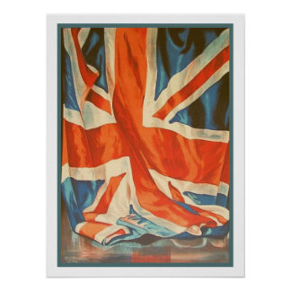 Poster with Vintage Flag from United Kingdom