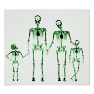 POSTER - X-RAY SKELETON FAMILY WHITE GREEN