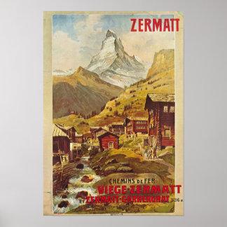 Poster Zermatt Schweiz Switzerland Gornergratbahn