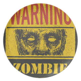 Poster Zombie Outbreak. Sign Board With Zombie Plates