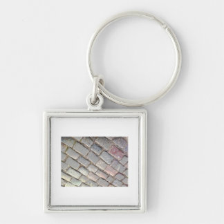 Posterized Cobbles Silver-Colored Square Key Ring